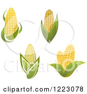 Clipart Of Golden Ears Of Corn And Leaves Royalty Free Vector Illustration