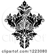 Clipart Of A Black And White Floral Damask Design 11 Royalty Free Vector Illustration
