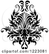 Clipart Of A Black And White Floral Damask Design 12 Royalty Free Vector Illustration