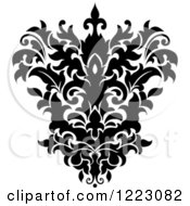 Clipart Of A Black And White Floral Damask Design 13 Royalty Free Vector Illustration