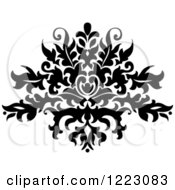 Clipart Of A Black And White Floral Damask Design 14 Royalty Free Vector Illustration