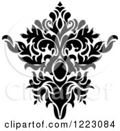 Clipart Of A Black And White Floral Damask Design 15 Royalty Free Vector Illustration