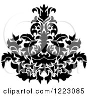 Clipart Of A Black And White Floral Damask Design 16 Royalty Free Vector Illustration