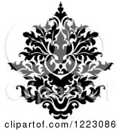 Clipart Of A Black And White Floral Damask Design 17 Royalty Free Vector Illustration
