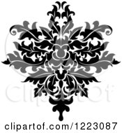 Clipart Of A Black And White Floral Damask Design 18 Royalty Free Vector Illustration