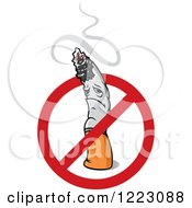Clipart Of A Sad Cigarette Character With Smoke And A Restricted Symbol Royalty Free Vector Illustration