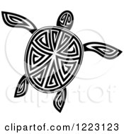 Clipart Of A Black And White Tribal Sea Turtle 6 Royalty Free Vector Illustration by Vector Tradition SM