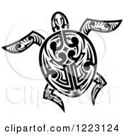 Clipart Of A Black And White Tribal Sea Turtle 7 Royalty Free Vector Illustration by Vector Tradition SM