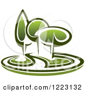 Clipart Of A Landscape With Green Trees Royalty Free Vector Illustration by Seamartini Graphics