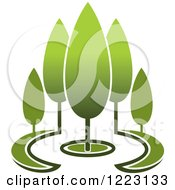 Clipart Of A Landscape With Green Trees 9 Royalty Free Vector Illustration