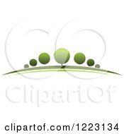 Clipart Of A Landscape With Green Trees 6 Royalty Free Vector Illustration