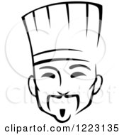 Clipart Of A Black And White Male Asian Chef Royalty Free Vector Illustration