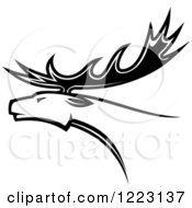 Clipart Of A Black And White Deer Or Moose With Antlers 2 Royalty Free Vector Illustration