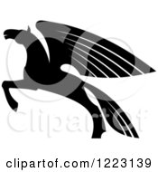 Clipart Of A Black And White Winged Horse Pegasus Ready To Take Flight 2 Royalty Free Vector Illustration by Vector Tradition SM