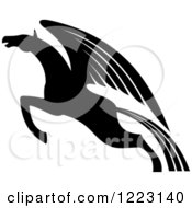 Clipart Of A Black And White Winged Horse Pegasus Ready To Take Flight Royalty Free Vector Illustration by Vector Tradition SM