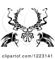 Clipart Of A Laurel Wreath And Two Winged Pegasus Horses Royalty Free Vector Illustration by Vector Tradition SM