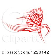Clipart Of A Running Red Tribal Horse Looking Back Royalty Free Vector Illustration