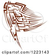 Clipart Of A Running Brown Tribal Horse Looking Back Royalty Free Vector Illustration