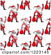Clipart Of A Seamless Background Pattern Of Waving Santas Royalty Free Vector Illustration by Vector Tradition SM