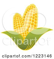 Clipart Of A Golden Ear Of Corn And Leaves 4 Royalty Free Vector Illustration