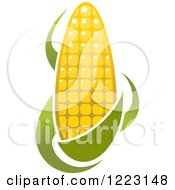 Clipart Of A Golden Ear Of Corn And Leaves Royalty Free Vector Illustration
