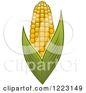 Clipart Of A Golden Ear Of Corn And Leaves 2 Royalty Free Vector Illustration