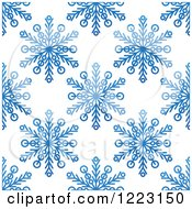 Clipart Of A Seamless Background Pattern Of Blue Snowflakes Royalty Free Vector Illustration