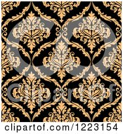 Clipart Of A Black And Tan Seamless Vintage Damask Pattern Royalty Free Vector Illustration