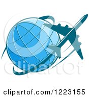 Clipart Of A Blue Airplane Flying Around A Globe Royalty Free Vector Illustration