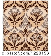 Clipart Of A Brown And Tan Seamless Vintage Damask Pattern Royalty Free Vector Illustration