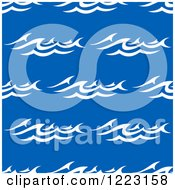Clipart Of A Seamless Background Pattern Of Ocean Surf Waves On Blue Royalty Free Vector Illustration