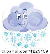 Clipart Of A Happy Winter Cloud With Snowflakes Royalty Free Vector Illustration