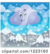 Clipart Of A Happy Winter Cloud With Snowflakes Over Mountains Royalty Free Vector Illustration