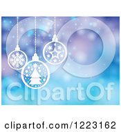 Clipart Of A Purple And Blue Flare Background With Suspended White Christmas Baubles Royalty Free Vector Illustration by visekart