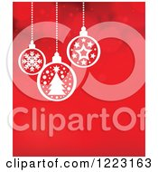 Clipart Of A Red Flare Background With Suspended White Christmas Baubles Royalty Free Vector Illustration by visekart