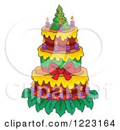 Clipart Of A Christmas Tree Cake With Candles Royalty Free Vector Illustration by visekart
