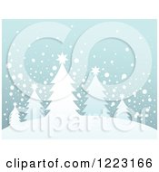 Clipart Of A Background Of Evergreen Christmas Trees On A Hill In The Snow Royalty Free Vector Illustration