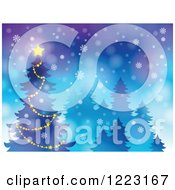 Clipart Of A Star Glowing On Top Of A Christmas Tree In The Snow Royalty Free Vector Illustration by visekart