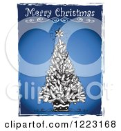 Clipart Of Merry Christmas Text Over A Black And White Tree Over Blue With Grunge Borders Royalty Free Vector Illustration