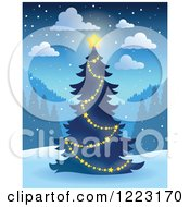 Clipart Of A Glowing Star On An Outdoor Christmas Tree At Night Royalty Free Vector Illustration