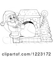 Clipart Of An Outlined Santa Claus Pulling A Sack Through A Fireplace Royalty Free Vector Illustration by visekart