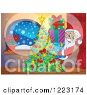 Clipart Of Santa Claus With A Stack Of Presents Behind A Christmas Tree Royalty Free Vector Illustration