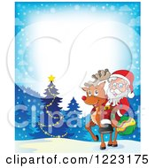 Clipart Of Santa Claus Riding A Reindeer In The Snow With Text Space Royalty Free Vector Illustration