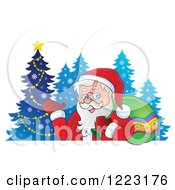 Clipart Of Santa Claus Waving And Carrying A Sack Over His Shoulder By Blue Trees Royalty Free Vector Illustration