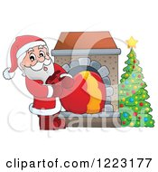 Clipart Of Santa Claus Pulling A Sack Through A Fireplace Royalty Free Vector Illustration by visekart