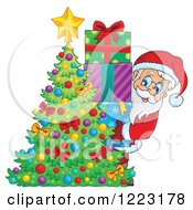 Clipart Of Santa Claus With A Stack Of Gifts Behind A Christmas Tree Royalty Free Vector Illustration