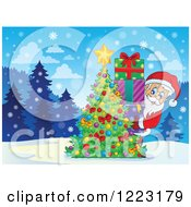 Clipart Of Santa Claus With A Stack Of Gifts Behind A Christmas Tree In The Snow Royalty Free Vector Illustration