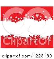 Clipart Of A Red Background With Snowflakes And White Grunge Royalty Free Vector Illustration