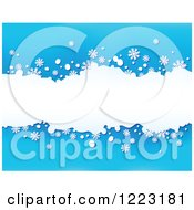 Clipart Of A Blue Background With Snowflakes And White Grunge Royalty Free Vector Illustration