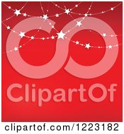 Clipart Of A Red Background With Suspended Stars Royalty Free Vector Illustration